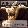 Wood Carving Horses Small, for Indoors and Inside Display sculpturettes Sculptures figurines commissions commemoratives sculpture by sculptor Anton Yavny titled: 'Kozak (Carved Wood Charging Cossack Lancer statuette statue carving)' - Artwork View 2