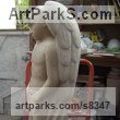 Carved Lincoln Limestone Garden Or Yard / Outside and Outdoor sculpture by sculptor Antonia Hockton titled: 'Waiting Angel (Young Modern Guardian Angel statue)' - Artwork View 5