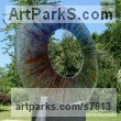 Fused Glass Abstract Contemporary Modern Outdoor Outside Garden / Yard sculpture statuary sculpture by sculptor Arabella Marshall titled: 'Infusion (Glass Circular garden Focal Point statue)'