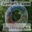 Fused Glass Abstract Contemporary Modern Outdoor Outside Garden / Yard sculpture statuary sculpture by sculptor Arabella Marshall titled: 'Infusion (Glass Circular garden Focal Point statue)' - Artwork View 2
