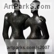 Bronze -Resin Love / Affection sculpture by sculptor Beatrice Hoffman titled: 'Etruscan Couple 2 (Bronze resin Couple statues)'