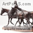 Bronze Horse and Rider / Jockey Sculpture / Equestrian sculpture by sculptor Belinda Sillars titled: 'Polo Ponies (Small bronze String Polo Ponies sculpture statuette)'