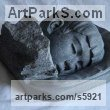 Black Granite Stone Portrait Sculptures / Commission or Bespoke or Customised sculpture by sculptor Besada Yakoub titled: 'Sleeping Child (Carved Granite stone Bust Head statue)' - Artwork View 2