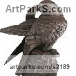 Bronze Birds of Prey / Raptors sculpture by Bill Prickett titled: 'Peregrine Falcon Preening (Bronze Perched Bird statue)'