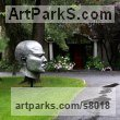 Cast aluminum Public Park or Urban Landscape or Corporate sculpture / Fountain / Sratuary sculpture by Bob Clyatt titled: 'Fierce (massive Large Big |Mans Head Face Bust statue sculpture)'