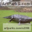 Steel Garden Or Yard / Outside and Outdoor sculpture by sculptor Bob Fuller titled: 'Crocodile (Steel Realistic Outsize garden/Yard statue)' - Artwork View 3