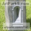 Welsh slate Public Art sculpture by Bobbie Fennick titled: 'Portal (Carved stone Window Embrasure sculptures)'