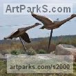 Bronze Varietal Mix of Bird Sculptures or sculpture by sculptor Brett Davis titled: 'Canada Geese (Semi abstract Bronze Flying Water Fowl sculptures/statue)' - Artwork View 1
