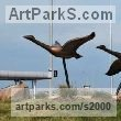 Bronze Varietal Mix of Bird Sculptures or sculpture by sculptor Brett Davis titled: 'Canada Geese (Semi abstract Bronze Flying Water Fowl sculptures/statue)' - Artwork View 2