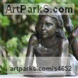 "bronze Portrait sculpture / Commission or Bespoke or Customised sculpture by Brian Alabaster titled: ""Olivia Lying (bronze Girl/Child garden/Yarde statue/sculptures)"""