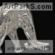 Hallmarked stirling silver Small Animal sculpture by Camilla Le May titled: 'Satao as silver brooch'