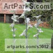 Aluminium, Steel, Resin Abstract Contemporary Modern Outdoor Outside Garden / Yard Sculptures Statues statuary sculpture by Carole Andrews titled: 'Flora - group of 3 (abstract Big Modern Outdoor Floral garden statues)'