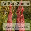 Roofing Felt, Steel, Polyurenthane, Resi Abstract Contemporary or Modern Outdoor Outside Exterior Garden / Yard Sculptures Statues statuary sculpture by Carole Andrews titled: 'Red Sentinels (abstract figurative Contemporary Modern garden sculpture)'