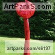 "aluminium resin Polychrome Sculpture by Carole Andrews titled: ""Red Villosa (Giant Outsize abstract Floral garden/Yard decorations)"""