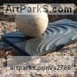 Cornish Slate and Tetbury limestone Abstract Contemporary or Modern Outdoor Outside Exterior Garden / Yard sculpture statuary by sculptor Carrie Horwood titled: 'Bow Wave (garden sculpture of Water Ripples and Ball)' - Artwork View 1