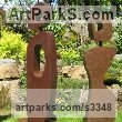 Mild steel Abstract Contemporary or Modern Outdoor Outside Exterior Garden / Yard sculpture statuary sculpture by sculptor Chris Rench titled: 'Gathering (Modern abstract Minimalist figurative Steel sculptures)' - Artwork View 1