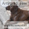 Copper resin Garden Or Yard / Outside and Outdoor sculpture by sculptor Christine Close titled: 'AT EASE (Dog Lying Resting Relaxed on Doorstep statue)' - Artwork View 3