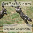 Resin Garden Or Yard / Outside and Outdoor sculpture by sculptor Christine Close titled: 'Harespring 2 (Mad March Hare Leaping Cavorting Jumping statues)' - Artwork View 5