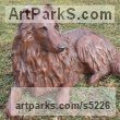 Copper resin Dogs sculpture by sculptor Christine Close titled: 'Rough Collie (Sitting Alert Sheep Dog art statue)' - Artwork View 4
