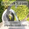 Stainless steel Abstract Modern Contemporary Avant Garde sculpture statuettes figurines statuary both Indoor Or outside sculpture by sculptor Christine Fox titled: 'Times Cycle 6 (Partially Circular stainless Steel abstract garden statue)'