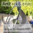 Stainless steel Garden Or Yard / Outside and Outdoor sculpture by sculptor Christine Fox titled: 'Times Cycle 6 (Partially Circular stainless Steel abstract garden statue)' - Artwork View 3