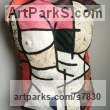 Mixed- paper, oil, acrylic, wire Famous People sculpture sculpture by sculptor Christine Palamidessi titled: 'Painter (Salute to Britto Painted nude Naked life size Girl`s Torso art)'