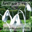 Mild Steel, Forged Garden Or Yard / Outside and Outdoor sculpture by sculptor Colleen du Pon titled: 'Snowdrops (Giant Outsize Galanthus garden Flower sculpture)' - Artwork View 2