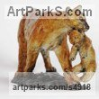 "bronze on bronze Base American Animal Bird Reptile and Fish sculpture, statue, statuettes, figurines by Cynthia Lewis titled: ""Cougar and Cub (bronze small Lifelike Coloured sculptures/statuette)"""