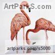 Bronze on polished Steel base Varietal Mix of Bird Sculptures or sculpture by sculptor Cynthia Lewis titled: 'Flamingos (Pink Bronze Feeding Standing Lifelike sculptures/statuette)' - Artwork View 4