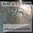Cold cast bronze Bas Reliefs or Low Reliefs sculpture by David Corbett titled: 'Fox leaping in a barley field'
