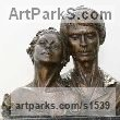 "bronze Portrait sculpture / Commission or Bespoke or Customised sculpture by David Cornell titled: ""Nureyev and Fonteyn (bronze sculpture Ballet Dancers Portrait Bust)"""
