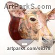 Papier Mache Mounted Heads, Masks, Wall Mounted Busts of Animals sculpture by David Farrer titled: 'Jersey Cow (Papier Mache Cattle Head Wall sculptures)'