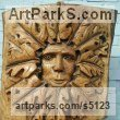 Ash Carved Wood sculpture by David Gross titled: 'Greenman (Large Carved Wooden Bas Relief Wall Hung/Mounted Face Plaque)'