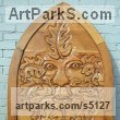 Oak Celtic Knot Work and Traditional sculpture by David Gross titled: 'Greenman Gate1 (Carved Wood Gate Bas Relief Mythical)'