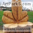 Oak Garden Or Yard / Outside and Outdoor sculpture by sculptor David Gross titled: 'Horse chestnut Leaf Seat (Carved wood garden/Yard sculpture/Seat)' - Artwork View 1