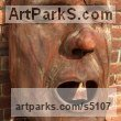 Elm Mask, Wall Hung Faces and Part Heads sculpture by sculptor David Gross titled: 'Open Mouth (Large Wooden Face Carving in Elm sculpture/Carving/statues)'