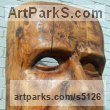Oak Portrait Sculptures / Commission or Bespoke or Customised sculpture by sculptor David Gross titled: 'Smile (Large/Giant/Outsize 1m tall Face Mask Carvings sculpture/statue)' - Artwork View 1