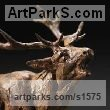 Bronze Wild Animals and Wild Life sculpture by sculptor David Mayer titled: 'Red Deer Stag (Bronze Bellowing statuettes sculptures)'