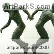 Bronze Resin Male Men Youths Masculine sculpturettes figurines sculpture by sculptor Diana Whelan titled: 'Doubletake'