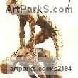 Bronze Resin Human Form: Abstract sculpture by sculptor Diana Whelan titled: 'Leapfrog'