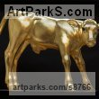 Tulip wood, glass eyes, gold leaf Cattle, Kine, Cows, Bulls, Buffalos, Bullocks, Heifers, Calves, Oxen, Bison, Aurocks, Yacks sculpture by Dido Crosby titled: 'Golden Calf (Gilded Carved Wood life size sculptures)'