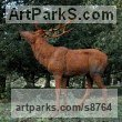 Cast iron Trompe l`Oeil Low Relief Panel Sculptures / Statues / panels sculpture by Dido Crosby titled: 'Iron Stag (life size Outdoor garden Standing sculpture)'