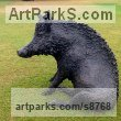 Bronze Public Art sculpture by Dido Crosby titled: 'Sitting Boar (Sitting Seated bronze life size statues)'