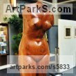 Carved Cherry Wood with green marble base Females Women Girls Ladies sculpture statuettes figurines sculpture by sculptor Dionisio Cimarelli titled: 'Roman torso of Venus (Carved Wood nude Torso Venus de Milo statue)' - Artwork View 2