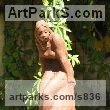 Stoneware Garden Or Yard / Outside and Outdoor sculpture by sculptor Doru Nuta titled: 'Girl (stone ware Seated nude Young female sculptures)' - Artwork View 1