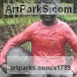 Bronze Resin Garden Or Yard / Outside and Outdoor sculpture by sculptor Dreene Cotton titled: 'Thomas a substitute Again (Bronze resin Boy Footballer sculpture/statue)' - Artwork View 4