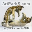 Bronze Cats sculpture by Eddie Hallam titled: 'Lynx Kittens at Play'
