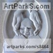 Limestone Bas Reliefs or Low Reliefs sculpture by sculptor Edward Fleming titled: 'Baby Portrait 2'