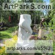 White Colorado marble Nude or Naked Couples or Lovers sculpture by sculptor Edward Fleming titled: 'lAbbraccio (Carved marble Embrace Lovers abstract statue carving)'