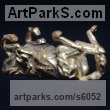Gold Horses Small, for Indoors and Inside Display Statues statuettes Sculptures figurines commissions commemoratives sculpture by Edward Waites titled: 'Gold Rolling Horse (Miniature Little Gold statuette ornament statue)'